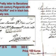 Sellos: 1760.-SOBREESCRITO SIGLO XVIII DE BARCELONA A PUIGCERDÁ. MARCA COMPLETA. CAT. 28 N RARISIMA. . Lote 41292313