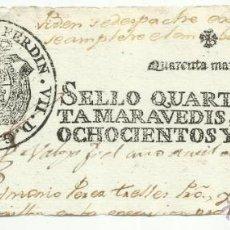 Selos: FERNANDO VII SELLO QUARTO DE 40 MARAVEDIS 1810 EMBARGO. Lote 43413085