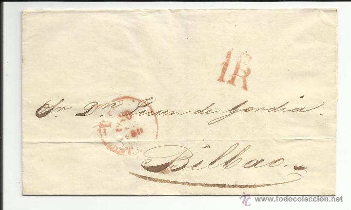ENVUELTA CIRCULADA 1850 A BILBAO MATASELLO BAEZA LLEGADA (Filatelia - Sellos - Prefilatelia)