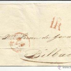 Sellos: ENVUELTA CIRCULADA 1850 A BILBAO MATASELLO BAEZA LLEGADA. Lote 45215816