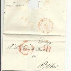Sellos: ENVUELTA CIRCULADA 1847 DE MADRID A BILBAO CON FECHADOR BAEZA . Lote 45216068