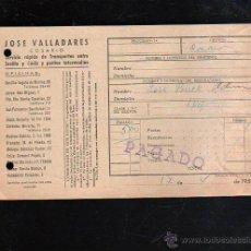 Sellos: COSARIO. JOSE VALLADARES. SERVICIO RAPIDO DE TRANSPORTES. 1952. SEVILLA. Lote 45368489