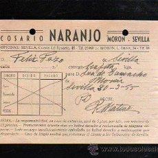 Sellos: COSARIO. NARANJO. MORON - SEVILLA. 1955. Lote 45368585