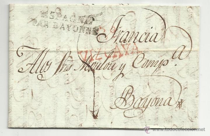 CIRCULADA Y ESCRITA CASTELLANO 1821 DE BILBAO A BAYONA TEMA PAGO TERCIOPELOS (Filatelia - Sellos - Prefilatelia)