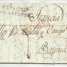 Sellos: CIRCULADA Y ESCRITA CASTELLANO 1821 DE BILBAO A BAYONA TEMA PAGO TERCIOPELOS. Lote 45668591