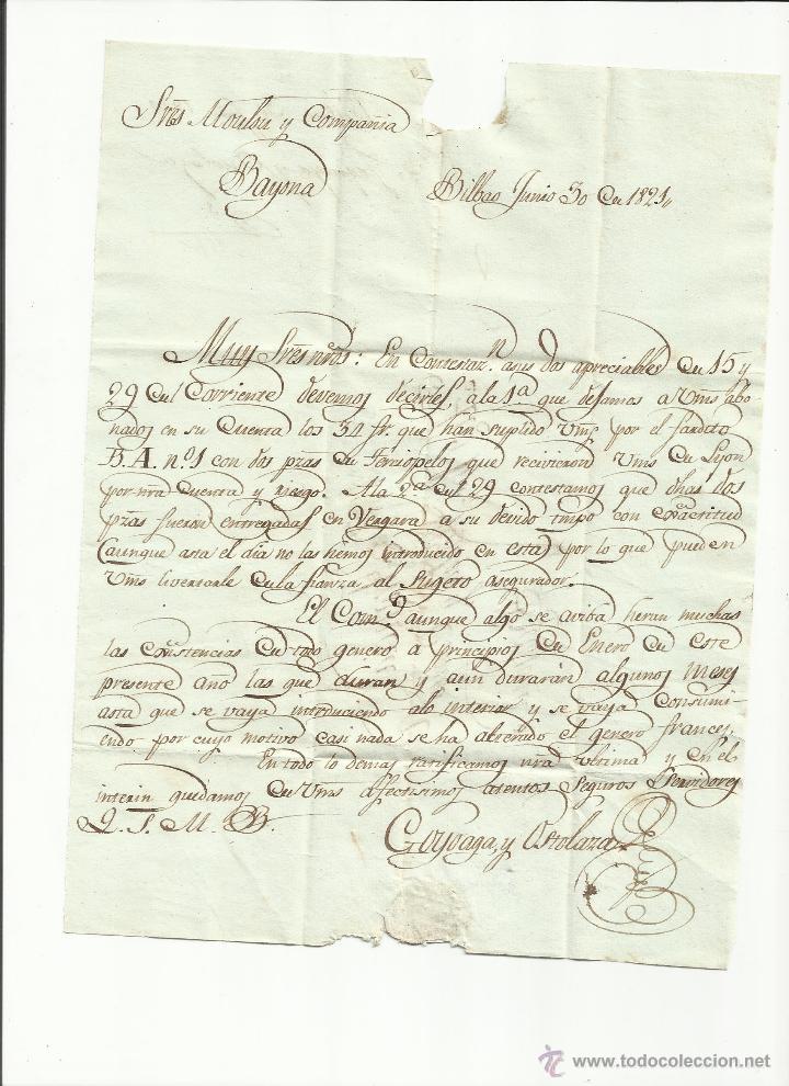 Sellos: circulada y escrita castellano 1821 de bilbao a bayona tema pago terciopelos - Foto 2 - 45668591