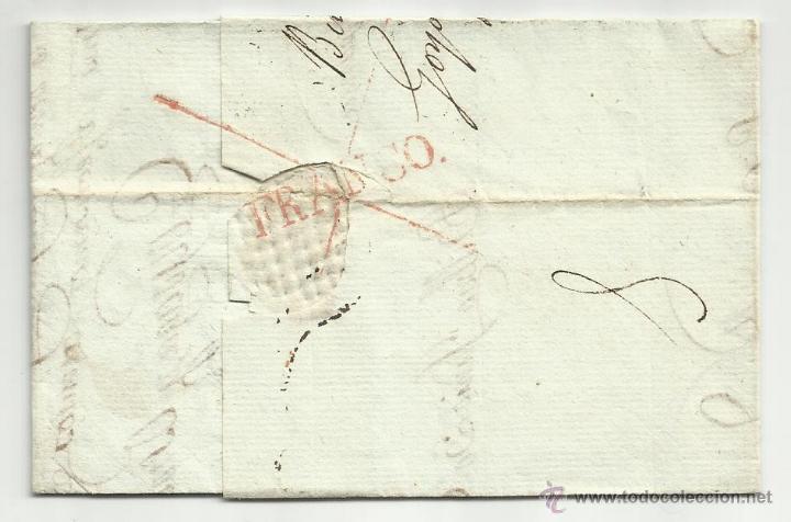 Sellos: circulada y escrita castellano 1821 de bilbao a bayona tema pago terciopelos - Foto 3 - 45668591