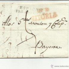 Sellos: CIRCULADA Y ESCRITA 1819 DE VITORIA A BAYONA VER FOTO. Lote 46224812