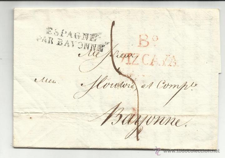 CIRCULADA Y ESCRITA 1820 DE BILBAO A BAYONA VER FOTO (Filatelia - Sellos - Prefilatelia)