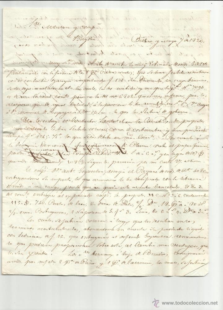 Sellos: circulada y escrita 1820 de bilbao a bayona ver foto - Foto 2 - 46224877