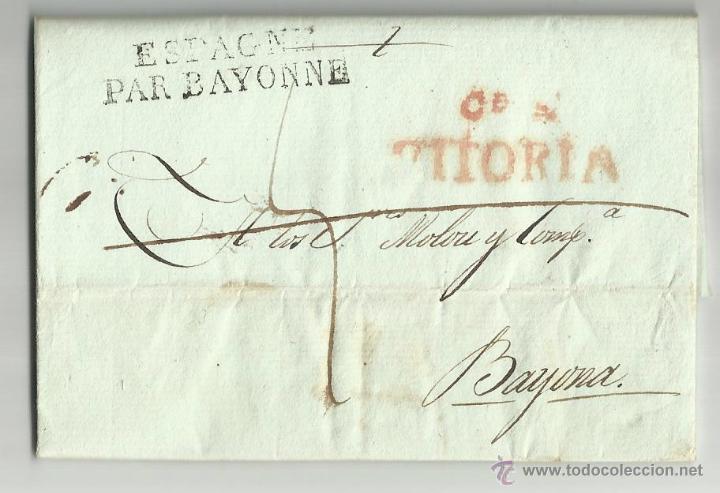 CIRCULADA Y ESCRITA 1817 DE VITORIA A BAYONA FRANCIA (Filatelia - Sellos - Prefilatelia)
