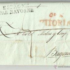 Sellos: CIRCULADA Y ESCRITA 1817 DE VITORIA A BAYONA FRANCIA. Lote 47316333