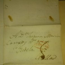Sellos: CARTA COMPLETA , MARCA PAMPLONA EN ÓVALO ROJO NAVARRA , DESTINO: TUDELA CORELLA, 2-3-1835.. Lote 49527041