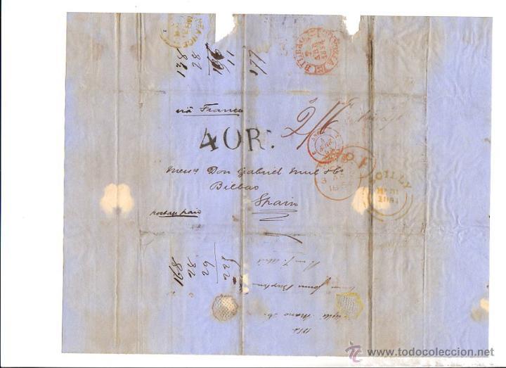 SOBRE PREFILATELIA SICILIA - BILBAO. AÑO 1854. (Filatelia - Sellos - Prefilatelia)