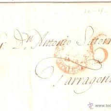 Sellos: ENVUELTA DE CARTA TARRAGONA 1845. Lote 24670980