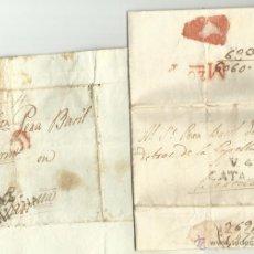 Sellos: AÑOS 1827 Y 1834 * VALLS A BARCELONA * DOS CARTAS PREFILATELICAS COMPLETAS EN CATALA * CARNESTOLTES. Lote 50801863