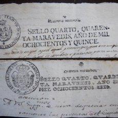 Sellos: DOS SELLOS CLASICOS FISCALES 1806 Y 1815. ANTIGUOS SELLOS FISCALES TIMBROLOGIA FILATELIA FISCAL.. Lote 51376424