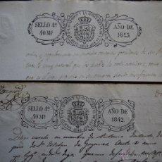 Sellos: DOS SELLOS CLASICOS FISCALES 1842 Y 1843. ANTIGUOS SELLOS FISCALES TIMBROLOGIA FILATELIA FISCAL.. Lote 51376919