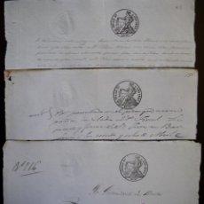 Sellos: TRES SELLOS CLASICOS FISCALES 1842 Y 1843. ANTIGUOS SELLOS FISCALES TIMBROLOGIA FILATELIA FISCAL.. Lote 51387578