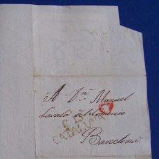 Sellos: 1829 TARROJA A BARCELONA * TEXTO EN CATALAN * HELADAS Y NUEVO AYUNTAMIENTO. Lote 53475885