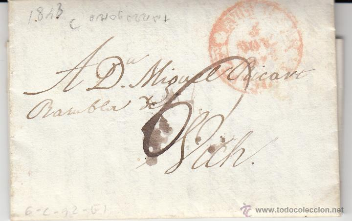 PREFILATELIA CARTA COMPLETA DE TARRAGONA A VIC 1843 (Filatelia - Sellos - Prefilatelia)