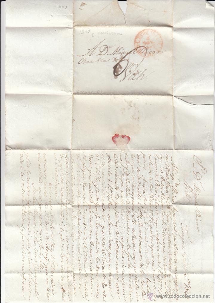 Sellos: PREFILATELIA CARTA COMPLETA DE TARRAGONA A VIC 1843 - Foto 2 - 53764323