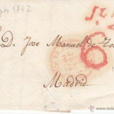 Sellos: PREFILATELIA- CARTA COMPLETA DE BURGOS A MADRID ---1842---. Lote 53807216