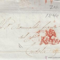 Sellos: PREFILATELIA- CARTA ENTERA DE ZARAGOZA A TUDELA --1840-- CON MARCA DE ARAGÓN EN ROJO. Lote 53956321