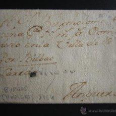 Sellos: PREFILATELIA, 1764. CARTA DE BURGOS (HUELGAS) A AMPUERO. MARCA BURGOS EN NEGRO. . Lote 54021823