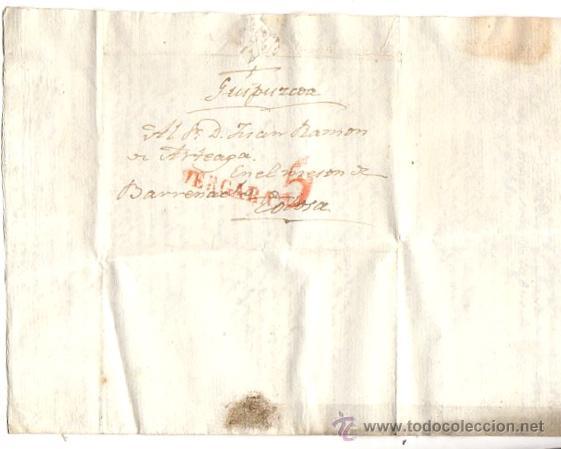 SOBRE PREFILATELIA VERGARA - TOLOSA. GUIPUZCOA. AÑO 1844 (Filatelia - Sellos - Prefilatelia)