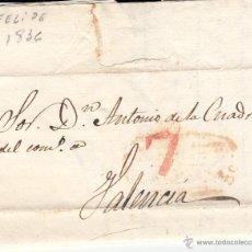 Sellos: PREFILATELIA- CARTA COMPLETA DE SAN FELIPE A VALENCIA ---1836---. Lote 54435633