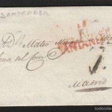 Sellos: PREFILATELIA CANTABRIA : CARTA DE SANTANDER DEST MADRID AÑO DICIEMBRE 1827 . Lote 55168412