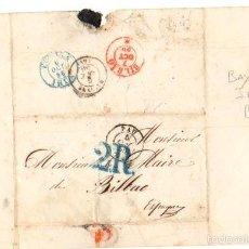 Sellos: SOBRE PREFILATELIA PAU - BAYONA - IRUN - BILBAO. AÑO 1856. Lote 55181788