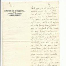 Sellos: COMISION ESTADISTICA PROVINCIA OVIEDO 1850 AL AYUNTAMIENTO DE TINEO. Lote 55692161