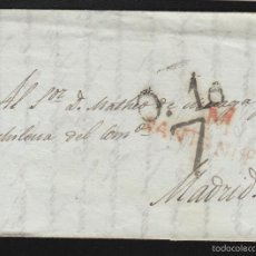 Sellos: PREFILATELIA CANTABRIA : CARTA ORIGEN SANTANDER DEST MADRID AÑO 1828 PORTEO 7 Y FECHADOR LLEGADA . Lote 55791439