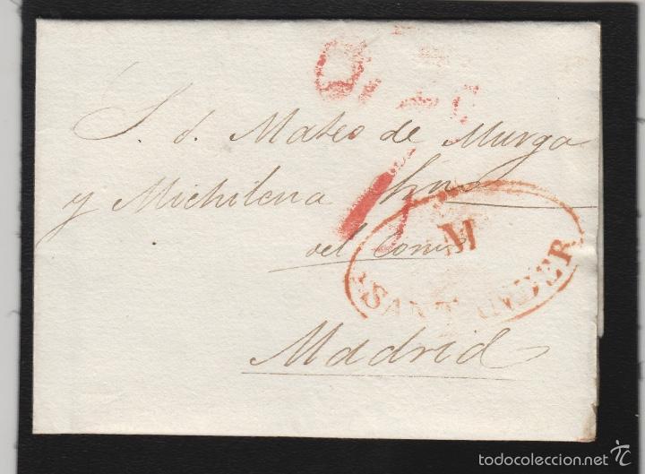 PREFILATELIA CANTABRIA : CARTA ORIGEN SANTANDER DEST MADRID AÑO 1834 (Filatelia - Sellos - Prefilatelia)
