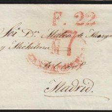 Sellos: PREFILATELIA CANTABRIA : CARTA ORIGEN SANTANDER DEST MADRID AÑO 1839 PORTEO 7 Y FECHADOR LLEGADA. Lote 55791534