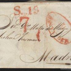 Sellos: PREFILATELIA CANTABRIA : CARTA ORIGEN SANTANDER DEST MADRID AÑO 1834 PORTEO 7 Y FECHADOR LLEGADA. Lote 55791562
