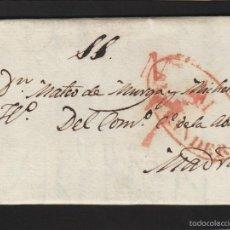 Sellos: PREFILATELIA CANTABRIA : CARTA ORIGEN SANTANDER DEST MADRID AÑO 1834 PORTEO 7 Y FECHADOR LLEGADA. Lote 55791575