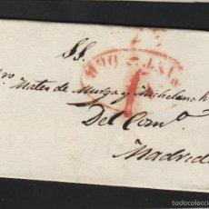 Sellos: PREFILATELIA CANTABRIA : CARTA ORIGEN SANTANDER DEST MADRID AÑO 1834 PORTEO 7 . Lote 55791610