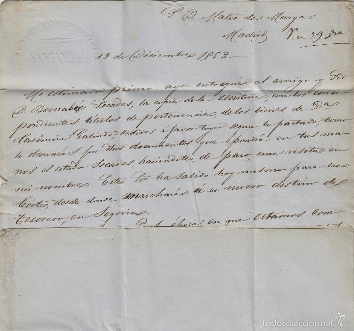 Sellos: PREFILATELIA CANTABRIA : CARTA SANTANDER / MADRID año 1853 marca BAEZA TASA 1 R y fechador llegada - Foto 2 - 55791809