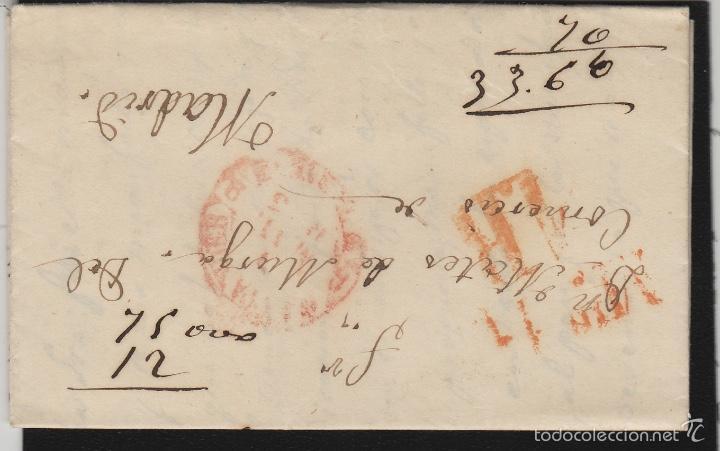 PREFILATELIA CANTABRIA : CARTA SANTANDER / MADRID AÑO 1853 MARCA BAEZA TASA 1 R Y FECHADOR LLEGADA (Filatelia - Sellos - Prefilatelia)