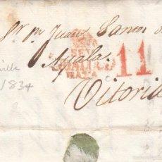 Sellos: PREFILATELIA.- CARTA COMPLETA DE SEVILLA A VITORIA --1834--. Lote 56027432