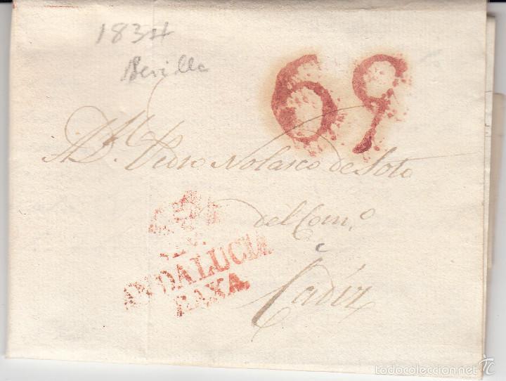 PREFILATELIA.- CARTA COMPLETA DE SEVILLA A CADIZ ---1834--- (Filatelia - Sellos - Prefilatelia)