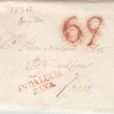 Sellos: PREFILATELIA.- CARTA COMPLETA DE SEVILLA A CADIZ ---1834---. Lote 56028944