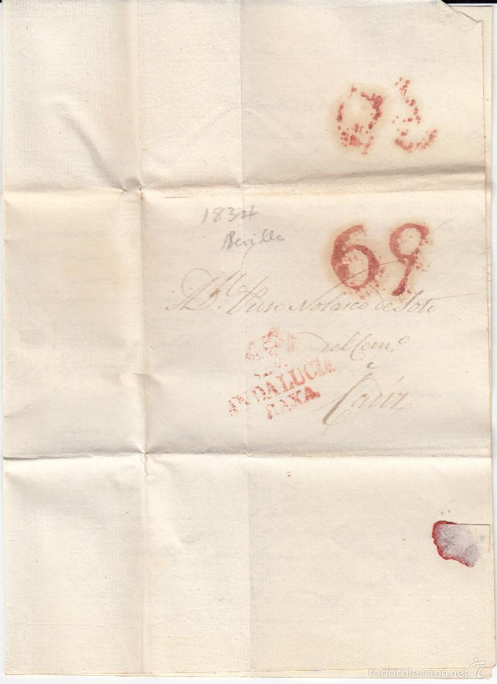 Sellos: PREFILATELIA.- CARTA COMPLETA DE SEVILLA A CADIZ ---1834--- - Foto 2 - 56028944