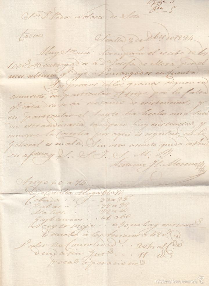 Sellos: PREFILATELIA.- CARTA COMPLETA DE SEVILLA A CADIZ ---1834--- - Foto 3 - 56028944