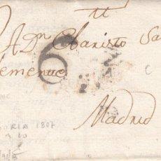 Sellos: PREFILATELIA.- CARTA COMPLETA DE SORIA A MADRID ----1807-----. Lote 56029078