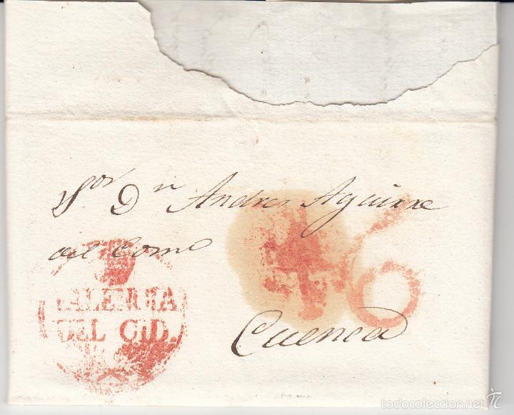 PREFILATELIA.- CARTA COMPLETA DE VALENCIA DEL CID A CUENCA --1834--- (Filatelia - Sellos - Prefilatelia)