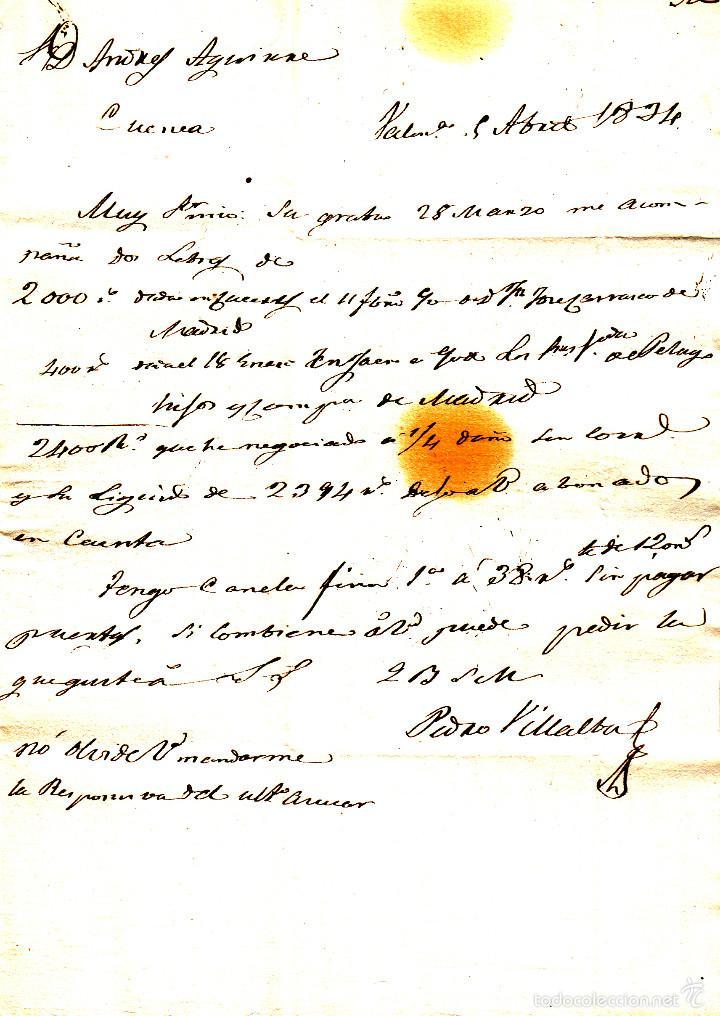 Sellos: PREFILATELIA.- CARTA COMPLETA DE VALENCIA DEL CID A CUENCA --1834--- - Foto 2 - 56350081